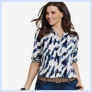 Cabi Moody Blues Button Down Blouse